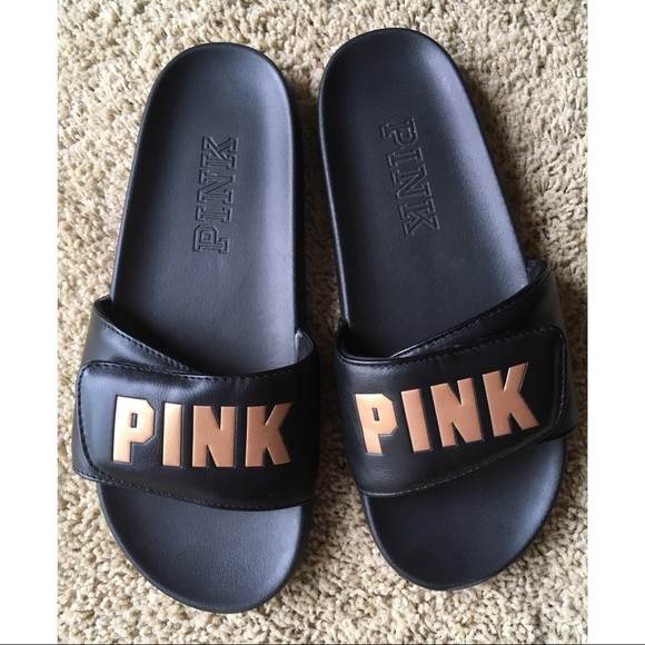 e54e53d926066 VS PINK black and gold sandals